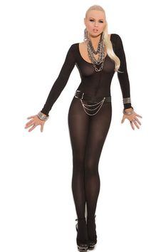 Women Lingerie Bodysuits Long Sleeve Hollow Out Crotchless Stretchy/'Bodystocking