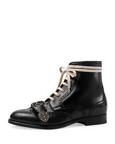 Queercore Lace-Up Brogue Boot w/Buckle by Gucci at Neiman Marcus.