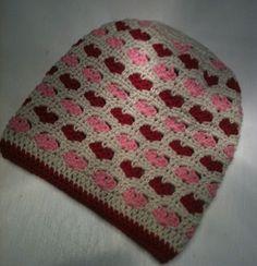 Beanie crochet with heart stitch <3