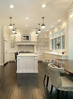 White Kitchen Design Ideas To Inspire You Love the all white kitchen with dark wood floors. All White Kitchen, White Kitchen Cabinets, New Kitchen, Kitchen Decor, Kitchen Ideas, Black Cabinets, Kitchen Island, Kitchen Interior, Awesome Kitchen