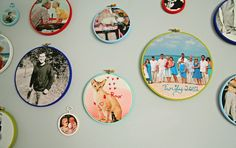 Photos printed on fabric with embroidery details.