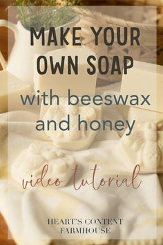 Cold process soap tutorial using beeswax and honey. Step by step video included. Beeswax Recipes, Homemade Soap Recipes, Glycerin Soap, Castile Soap, Handmade Soaps, Diy Soaps, Soap Tutorial, Honey Soap, Lavender Soap