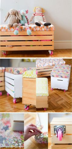 Toy boxes with cushion and casters- I'd do mine with more gender neutral fabric.