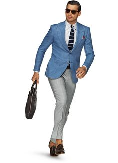 Spring/Summer Collection by Suit Supply. Blue Blazer Outfit Men, Blazer Outfits Men, Blazer Jacket, Suit Supply, Grey Slacks, Grey Pants, Black Trousers, Light Blue Blazers, Linen Jackets