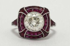 2 And Half Carat Round Diamond Vintage Engagement Ring Ruby Accent Art Deco Bombe' Cocktail Statement Bezel Milgrain Dots French Cut Rubies