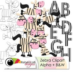 Zebra Clipart.  12 Zebra Clip Art and full Capital Letter Alphabet.  By RebeccaB Designs  My graphic designs are produced using Photoshop, at 300dpi and in .jpeg or .png format unless otherwise stated. My graphic designs are all within the colour Gamut (the printable range of colours).