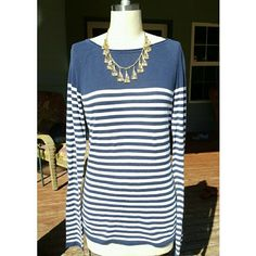 H&M lightweight striped sweater Worn a few times.  Long & lean fit.  Navy & white.  Great for fall/winter & spring. H&M Sweaters Crew & Scoop Necks