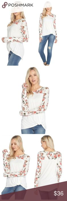 """ARRIVED! Ivory floral color block tee 🇺🇸 Ivory color block floral print tee features a front knot, long sleeves, rounded back hem, and crew neck. 95% rayon 5% spandex. Made in USA. S(2/4), M(6/8), L(10/12). Approx measurements, S-bust 18"""", front length 26, back 28"""" M-19"""", 26"""", 29"""" L-20"""", 27"""", 30"""" Tops Tees - Long Sleeve"""