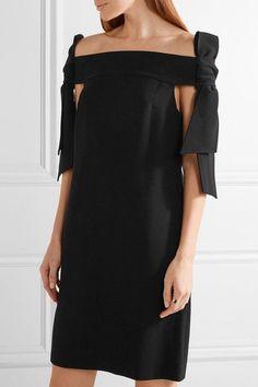 Tibi - Off-the-shoulder Bow-embellished Crepe Mini Dress - Black - US