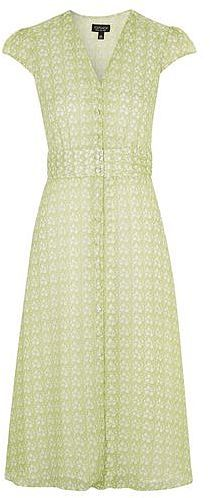 Womens light olive floral button-up midi dress - sage, sage from Topshop - £49 at ClothingByColour.com