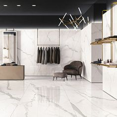 Extra large white Calacatta Borghini marble effect porcelain tiles used in a modern and contemporary retail space. Large Floor Tiles, Marble Floor, Tile Floor, Kitchen Wall Tiles, Room Tiles, Kitchen Floor, Marble Porcelain Tile, Marble Effect, Living Room Flooring