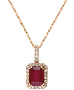 Effy Ruby (1-1/2 ct. t.w) and Diamond (1/4 ct. t.w) Pendant Necklace in 14k Rose Gold