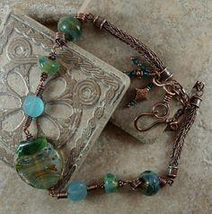 Viking Knit Necklace with artisan lampwork beads