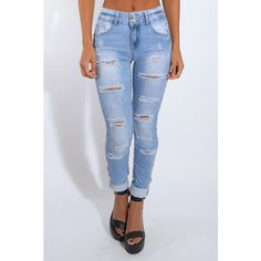 Rare Blue Ripped Detail Skinny Jeans ($26) ❤ liked on Polyvore featuring jeans, bottoms, pants, skinny jeans, skinny fit jeans, torn jeans, destructed jeans and destruction jeans
