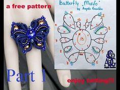 Butterfly free tatting pattern by Angela Gambka- never thought of using rhinestones and beads that way Shuttle Tatting Patterns, Tatting Patterns Free, Lace Patterns, Beading Patterns, Tatting Earrings, Tatting Jewelry, Needle Tatting, Tatting Lace, Tatting Tutorial