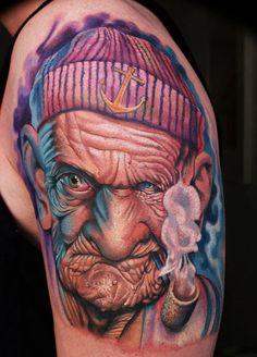 Old Man Sailor Tattoo http://tattooideas247.com/old-sailor/