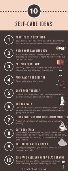 10 self-care ideas! Start practicing some well-deserved self-care! An additional plus, it's a cute printout!