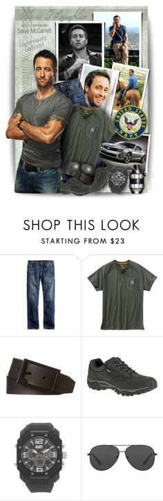"""Alex O'Loughlin ~ Steve McGarrett"" by pwhiteaurora ❤ liked on Polyvore featuring Lucky Brand, Parlor, Carhartt, Billabong, Merrell, Wrist Armor, Michael Kors, Viktor & Rolf, men's fashion and menswear"