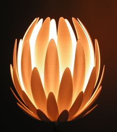Like a water lily, this table lamp will enchant you with its delicate shimmery design and its warm light. Designed by Janne Kyttanen for the manufa. Home Lighting, Lighting Design, Lighting Ideas, Modern Lighting, Lamp Inspiration, Mood Lamps, Flower Lamp, Contemporary Floor Lamps, 3d Prints