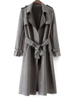 Faux Suede Long Trench Coat - GRAY S