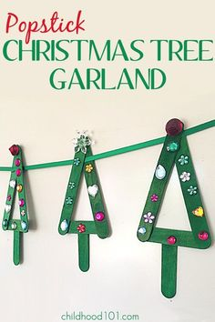 These simple popstick Christmas trees are fun for kids to make and look fabulous hung individually on your tree or strung together as a lovely garland.