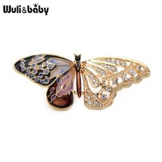 Wuli Baby Alloy Purple Enamel Butterfly Brooches Men And Women  s Metal  Rhinestone Insects 7b158c54c5bb