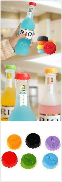 6PCS Silicone Beer Saver Bottle Cap. #kitchen