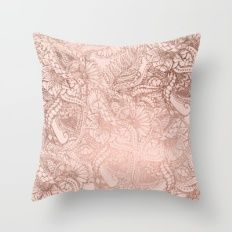 Modern rose gold floral illustration on blush pink Throw Pillow