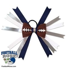 Handmade Football Hair Bow made from real football leather with Navy Blue, Silver, and White ribbon accents inspired by Dallas football Dallas Football, Football Fans, Dallas Cowboys, Football Hair Bows, Different Font Styles, Sport Craft, Team Mom, Elastic Hair Ties, Making Hair Bows