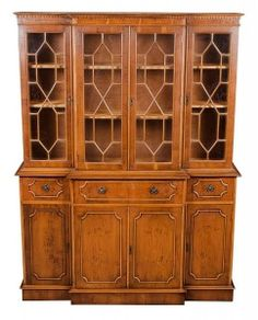 Antique Yew Breakfront Bookcase with Secretary - English Classics