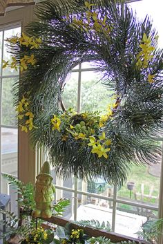 Majestic Pine Wreath with a Woodland Spring Theme by @ldresselhaus
