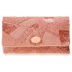 Mary Frances Pink Pink Gold Clutch ($155) ❤ liked on Polyvore featuring bags, handbags, clutches, pink, pink clutches, mary frances accessories, pink purse, red handbags and rose gold handbag