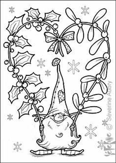 Christmas Coloring Pages, Coloring Book Pages, Printable Coloring Pages, Christmas Gnome, Christmas Colors, Christmas Art, Xmas, Theme Noel, Christmas Drawing