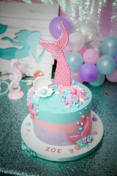 Mermaid Cake from a Shimmering Mermaid Birthday Party on Kara's Party Ideas | KarasPartyIdeas.com (12)