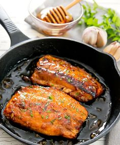 Honey Garlic salmon is a quick and delicious meal ready in about 30 minutes. Salmon fillets are pan seared and then glazed with a honey garlic sauce.