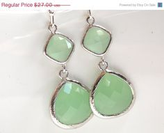 Hey, I found this really awesome Etsy listing at https://www.etsy.com/listing/111998181/sale-silver-green-mint-earrings-light