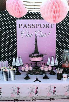 Paris themed parties are always so sweetly decorated with pretty shades of pink, Eiffel towers, and even pink poodles! Paris Themed Birthday Party, Spa Birthday Parties, Birthday Party Themes, Girl Birthday, Themed Parties, Bachelorette Parties, Pink Paris, Paris Rosa, Thema Paris