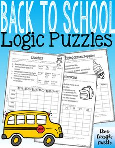 Three Back to School Math Logic Puzzles: Start your school year testing out your students logic skills with these fun matrix puzzles. Use as a back to school activity for early finishers, a cooperative learning activity, or a math center.Math Skills:-Logic only (first puzzle)-Multiples and Prime Numbers (second puzzle)-Add and Subtract Money (third puzzle)You Might Also Like:Math About Me ChallengeBack to School Multiplication Facts Color by NumbersBack to School Math ActivitiesFraction…