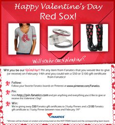 Check out our valentine's Day Pinterest Contest! We're giving away three $ 50 Fanatics gift certificates and one $ 100 Fanatics gift certificate! See graphic for details. Terms and Conditions: http://fanaticssweeps.com/fanaticsvalentinesday/ Start pinning here: http://pin.fanatics.com/default.aspx/source/pin-fanscl-valentines-day-contest-sclmp  I'm in love with these boots!!