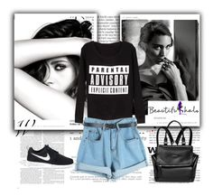 """""""Beautifulhalo #20"""" by lejlasaric ❤ liked on Polyvore featuring Balmain, Chanel, MARA, WithChic, NIKE, Givenchy and beautifulhalo"""
