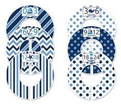 #114 Blue Navy Nautical Boy Baby Closet Dividers Clothes Organizers Set of 6