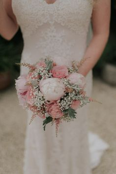 Delicate Pink Peony & Gypsophila Bouquet - Scuffins Photography | DIY Country Marquee Wedding in the New Forrest