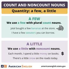 Count and Noncount Nouns - Quantity: A Few / A Little
