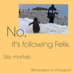 """""""NO PENGUINS IN THE FIREPLACE, FELIX."""""""