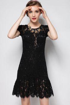 Flounce V Neck Lace Dress