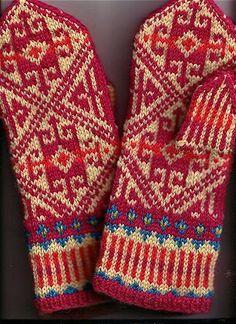 Fair isle knitted mittens