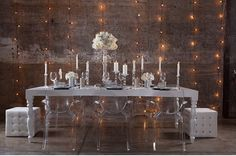Silver + White Wedding Table