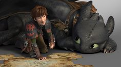 This has to be my new favorite picture of Hiccup and Toothless!  Just look at them! :)  *Heart melts*
