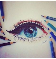Eye Drawing / Colored Pencils by Amir on imgfave Realistic Eye Drawing, Drawing Tips, Painting & Drawing, Colour Drawing, Pencil Painting, Figure Drawing, Cool Drawings, Pencil Drawings, Pencil Sketching