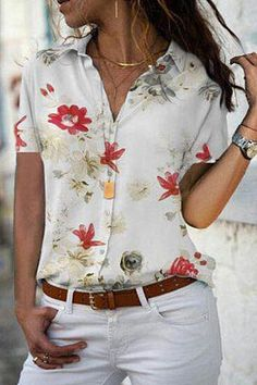 Shopping Turn Down Collar Printed Blouses online with high-quality and best prices Shirts & Blouses at Luvyle. Blouse Outfit, Blouse Online, Short Sleeve Blouse, Long Sleeve, Plus Size Blouses, Kimono Fashion, Printed Blouse, Chic Outfits, Casual Chic